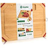 Unique Large Bamboo Cutting Board,Organic Chopping Board with Non-slip Rubber Grips, with 2 Specially Designed Compartments f