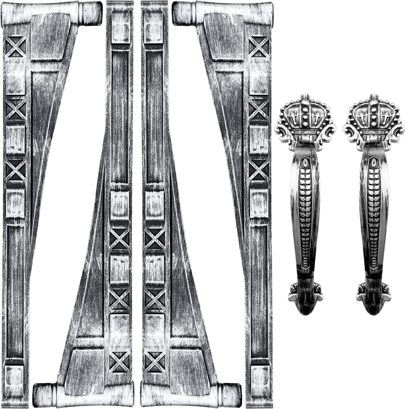 Magnetic Decorative Garage Door Accents Hardware Set, 4 Hinges& 2 Crown Style Handles, Magnet Mounted, Antique Silver