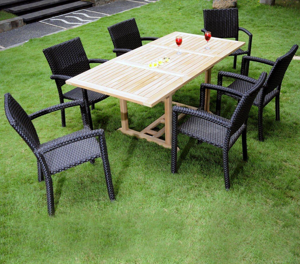 Gartenmöbel, Sitzgruppe Gartenstuhl aus Teak Limbok, roh