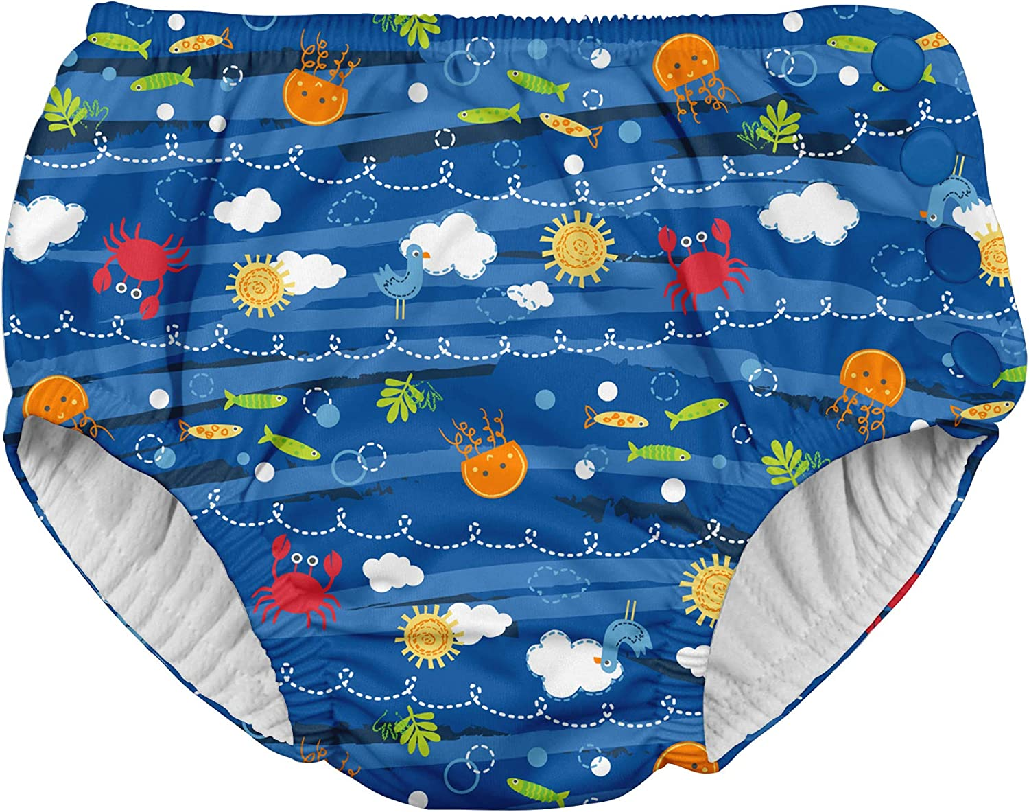 i play. by green sprouts Baby Toddler Boys' Swim Diaper, Royal Blue Sea Friends, 3T