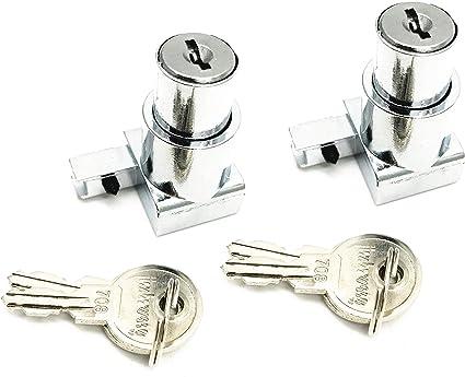 XMHF - Bloqueo de desatascador para puerta corredera de cristal con bisagras, para armario de 5 mm a 8 mm de grosor, 2 unidades de llaves diferentes: Amazon.es: Oficina y papelería