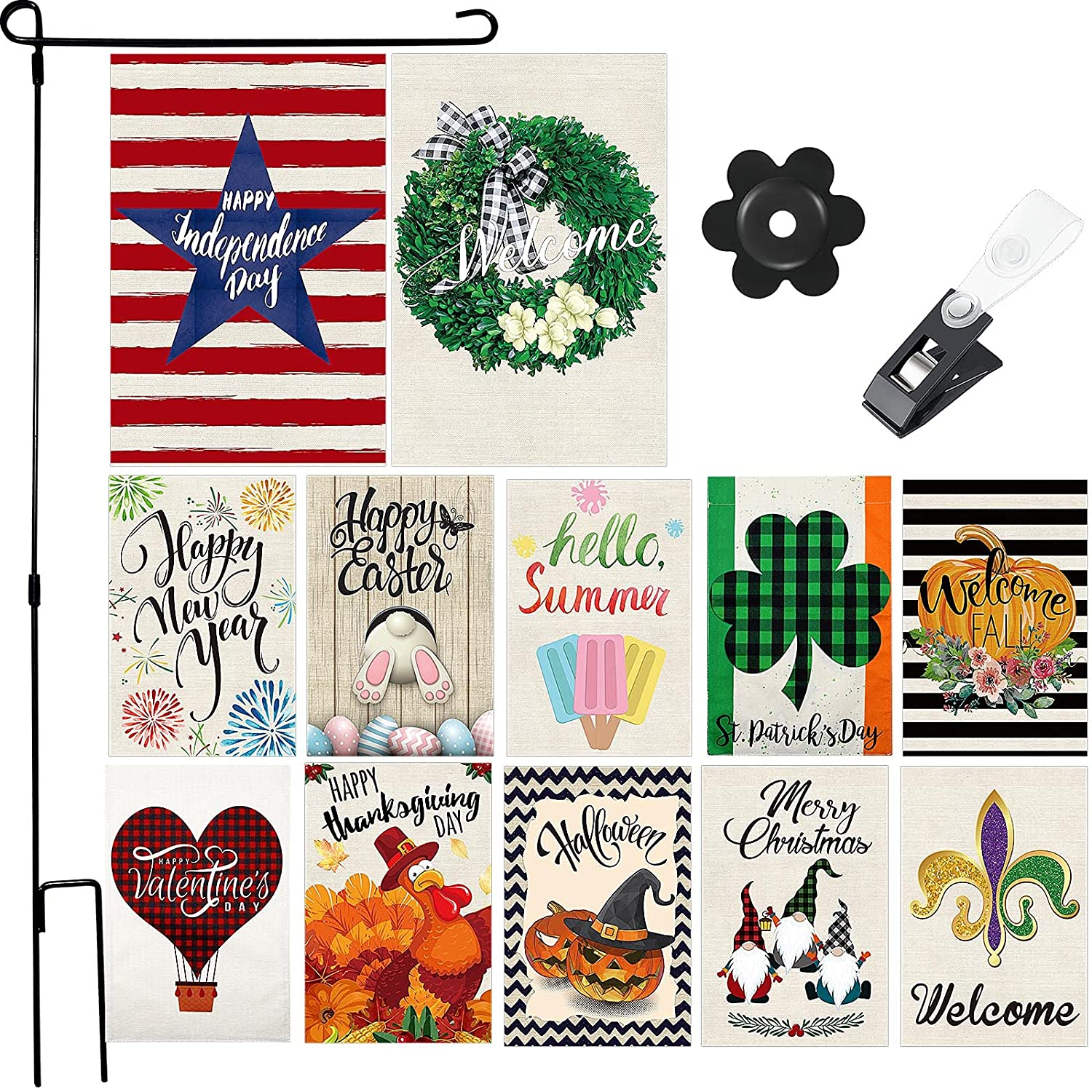 12 Pieces Seasonal Garden Flags Double Sided Holiday House Flag Vertical Decorative Outdoor Flags Welcome Party Yard Flags with Flag Stopper, Flagpole and Clips for Holiday Decoration, 12 x 18 Inch