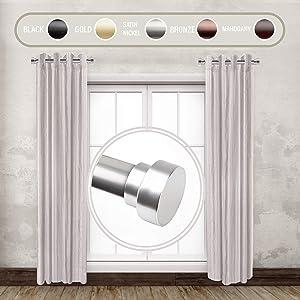 "Rod Desyne 1"" Side Curtain Rod, 12-20 inch (Set of 2), Satin Nickel"