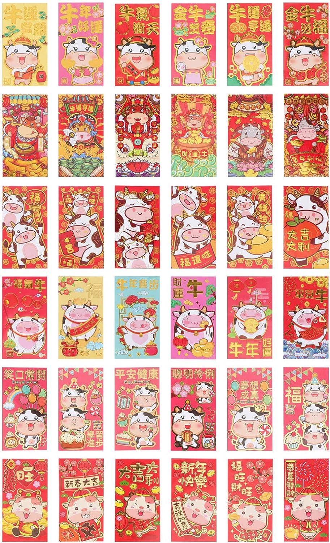 PRETYZOOM Christmas 36Pcs 2021 New Year Red Packet Kreative rote Umschl/äge f/ür das Jahr des Ochsen
