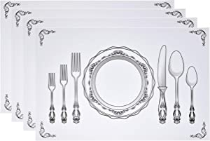 "Disposable Place Setting Paper Place Mats 50 Pack 11""x 17"" Rectangle Vintage Country Farmhouse Cutlery Plate Settings Table Mat Chargers for Kids Dinner Kitchen Restaurant Party Decorations"