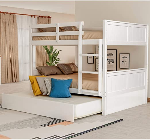 Amazon.com: Full Over Full Bunk Bed for Kids Teens, Detachable Wood Full Bunk Bed Frame with Trundle: Kitchen & Dining