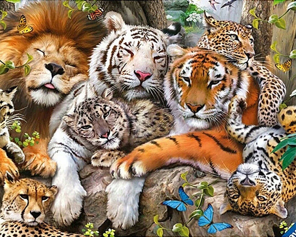ZHENC 5D DIY Square Diamond Painting Drawing Crafts Tiger Lion Leopard Animal Embroidery Needlework Full Drill Craft Decor Cross Stitch Kits by ZHENC