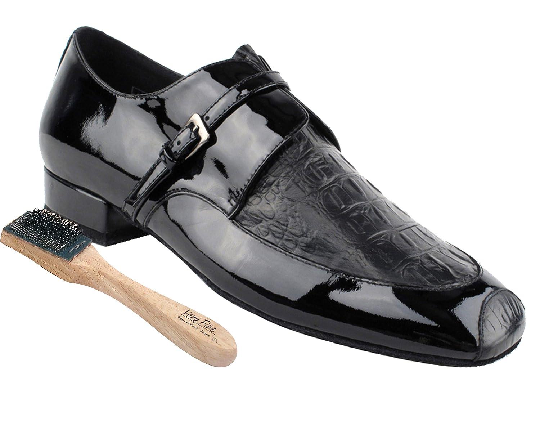 Black Patent 13 M US Heel 1 Inch Very Fine Mens Salsa Ballroom Tango Latin Dance Shoes Style CD9003B Bundle with Dance Shoe Wire Brush