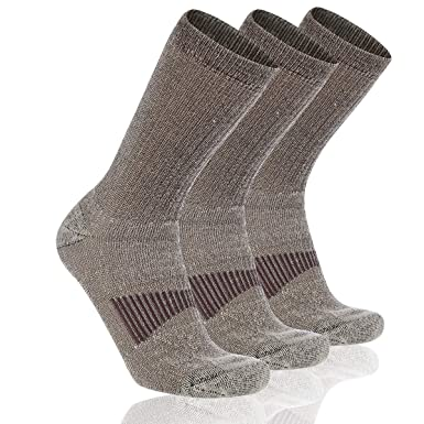 9c0d08206d9b5 Cooplus Mens Heavy Thick Warm Comfort Hiking Thermal Merino Wool Heat Crew  Winter Socks 3P-