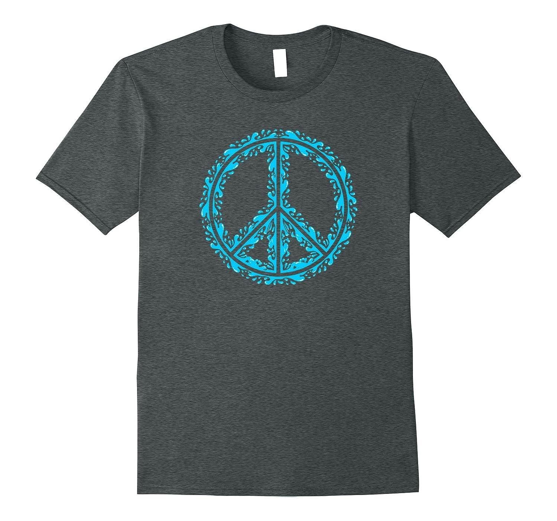 Blue Peace Symbol with Contemporary Design T-Shirt-CD