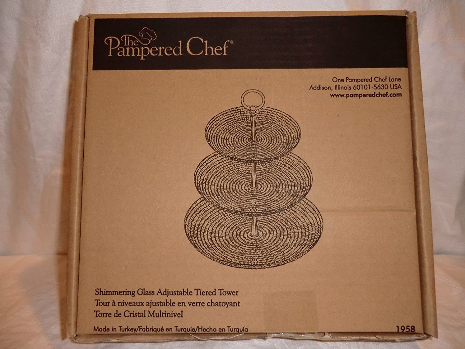 Pampered Chef Shimmering Glass Adjustable Tiered Tower #1958 Serving Plates
