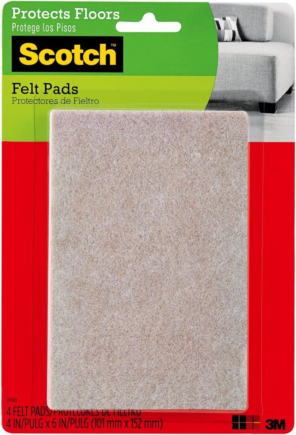 Scotch Felt Pads, Rectangle, Beige, 4 in. x 6 in., 4 Pads/Pack (SP840-NA)