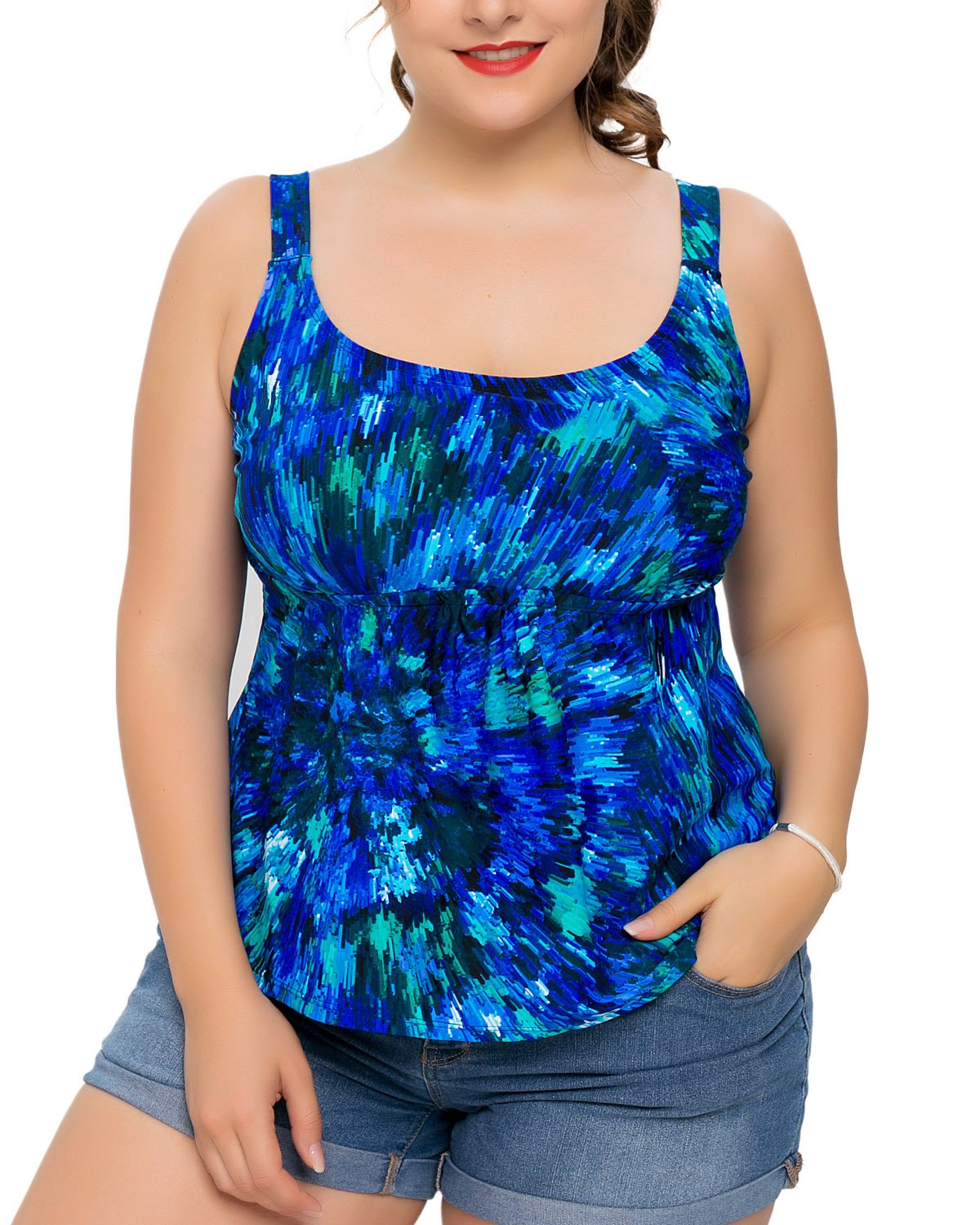 V for City Ladies Plus Size Swimsuit Tankini Top Swimwear Bathing Suit 18 Blue Plus