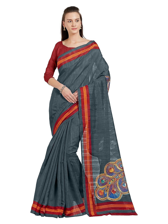 Sourbh Women's Bhagalpuri Printed Saree Bollywood Indian Sari (5516_Grey,Red,orange)