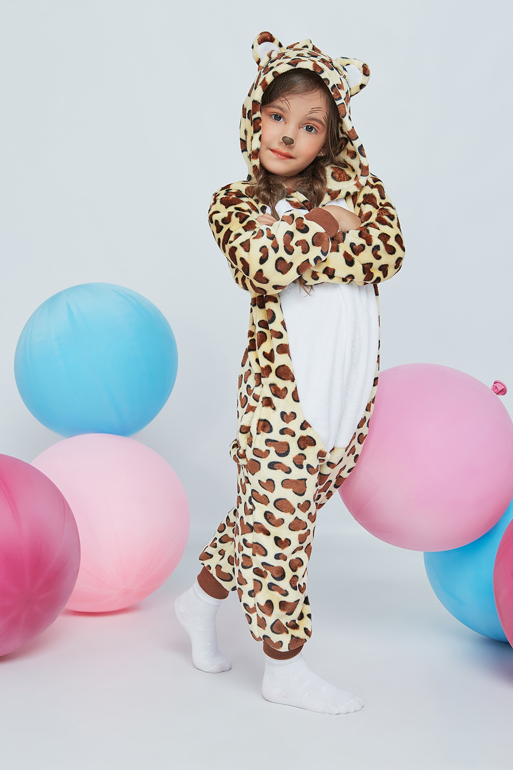 Kids Leopard Kigurumi Animal Onesie Pajamas Plush Onsie One Piece Cosplay Costume (Yellow, Brown, White) by Nothing But Love (Image #5)
