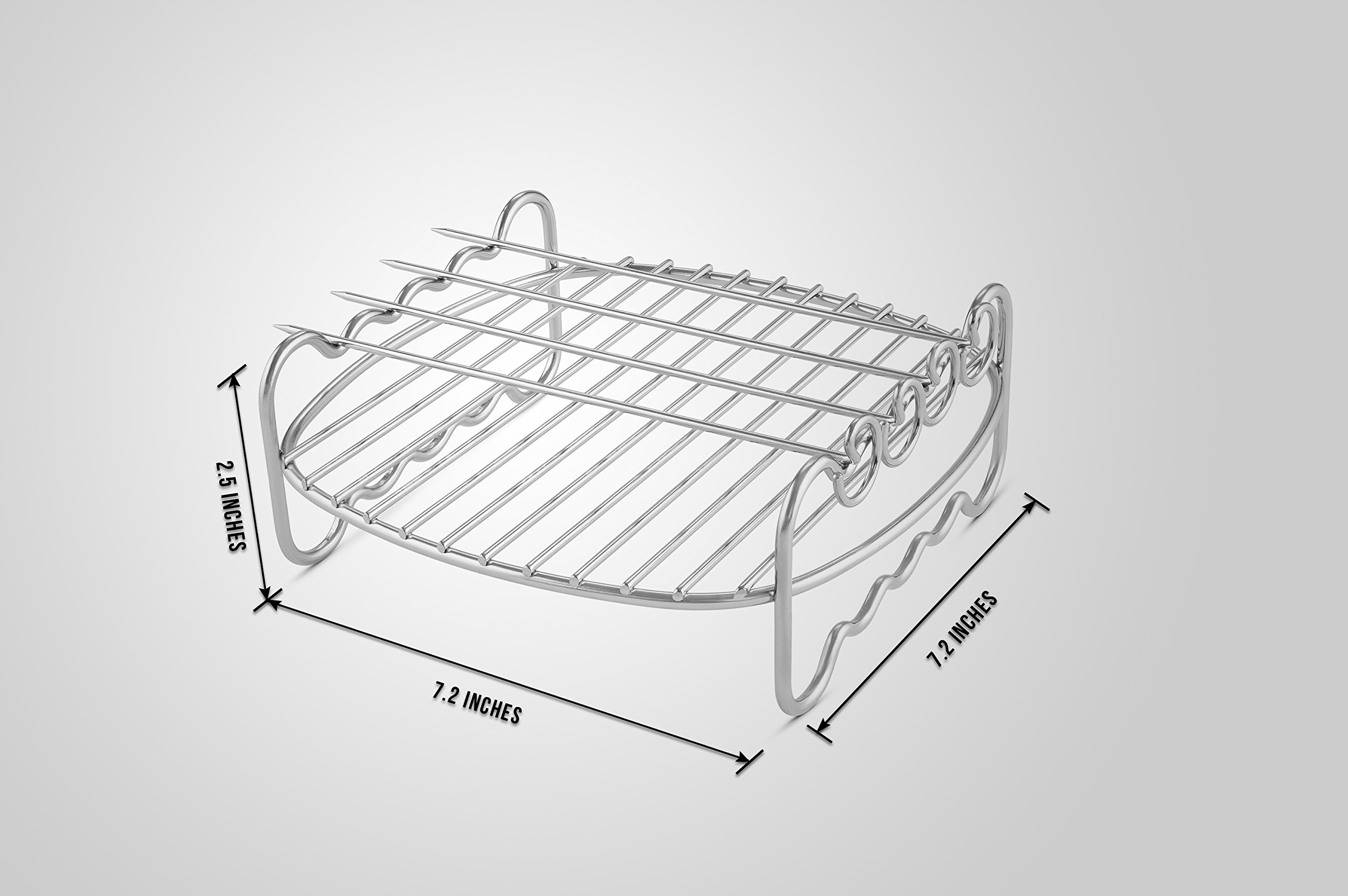 Airfryer Double Layer Rack With 4 Skewers Compatible With