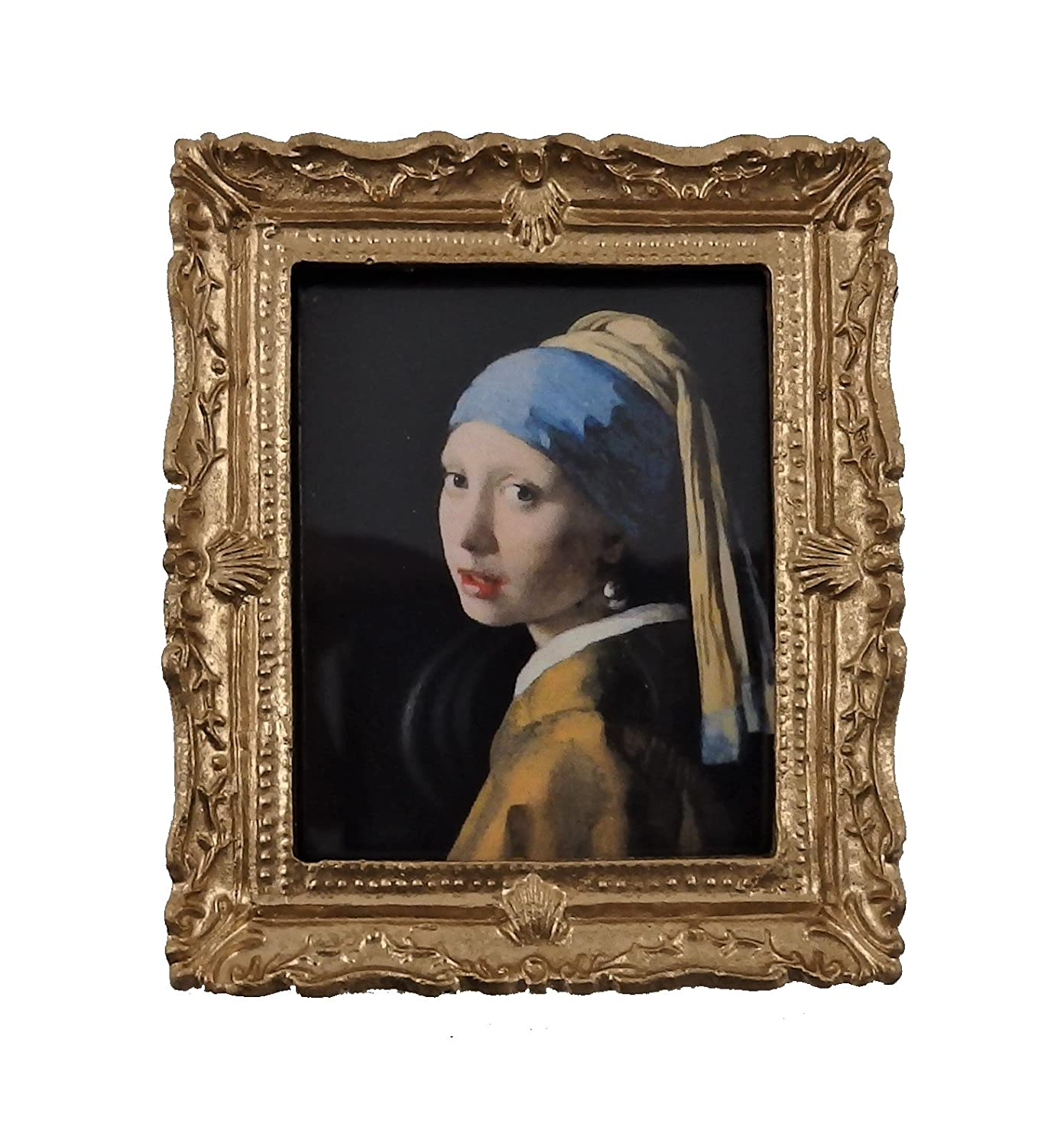 Melody Jane Dolls House Miniature Accessory Blue Lady Painting Gold Frame