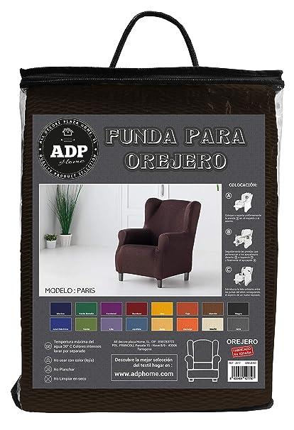ADP Home - Funda/Protector de Sillón Orejero de Alta Elasticidad, Protector de 1 Plaza (70 a 110 cm), Marron