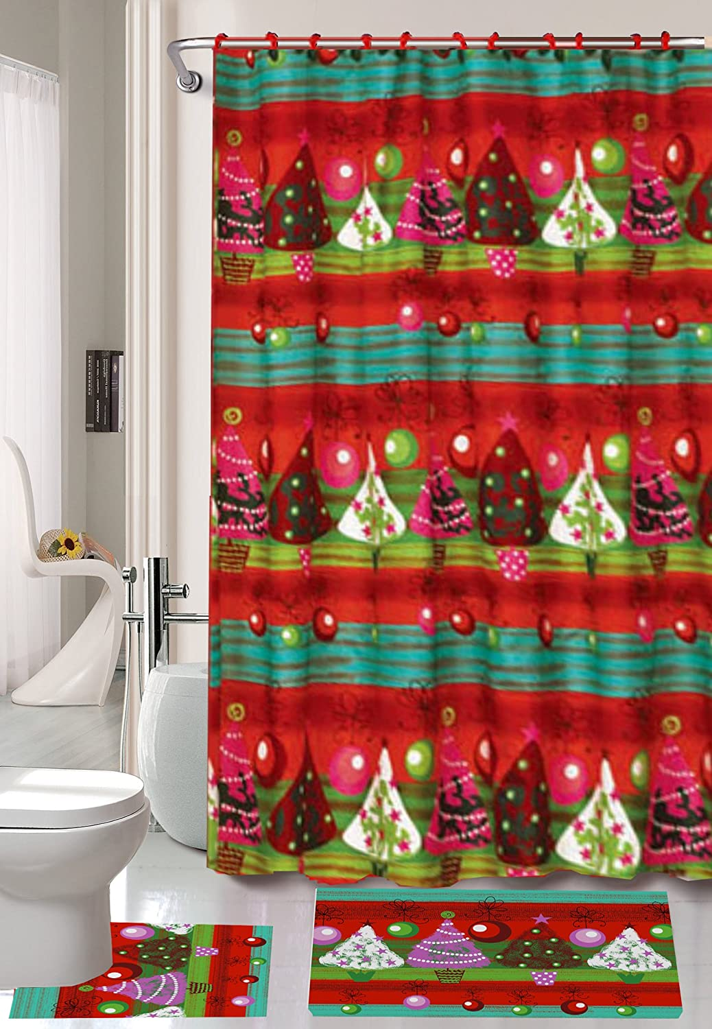 Christmas Season's Greetings 15 Piece Shower Curtain Set with Crystal Roller Shower Hooks (Christmas Time) BH Home & Linen