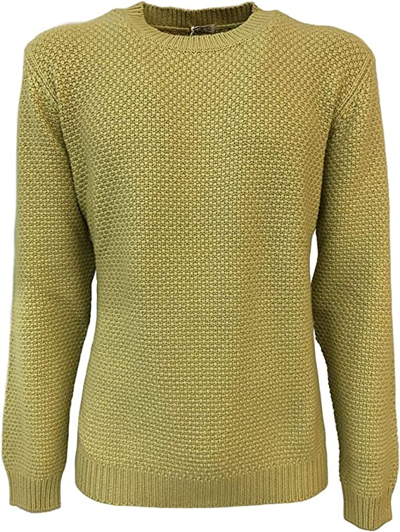 Malo Pull Homme Encolure Ronde Jaune 100% Cachemire Made in