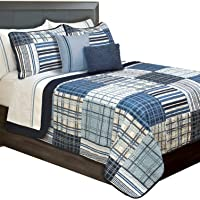 Duncan Plaid Printed Bedding 3 Piece/Bedspread Coverlet Quilt Set