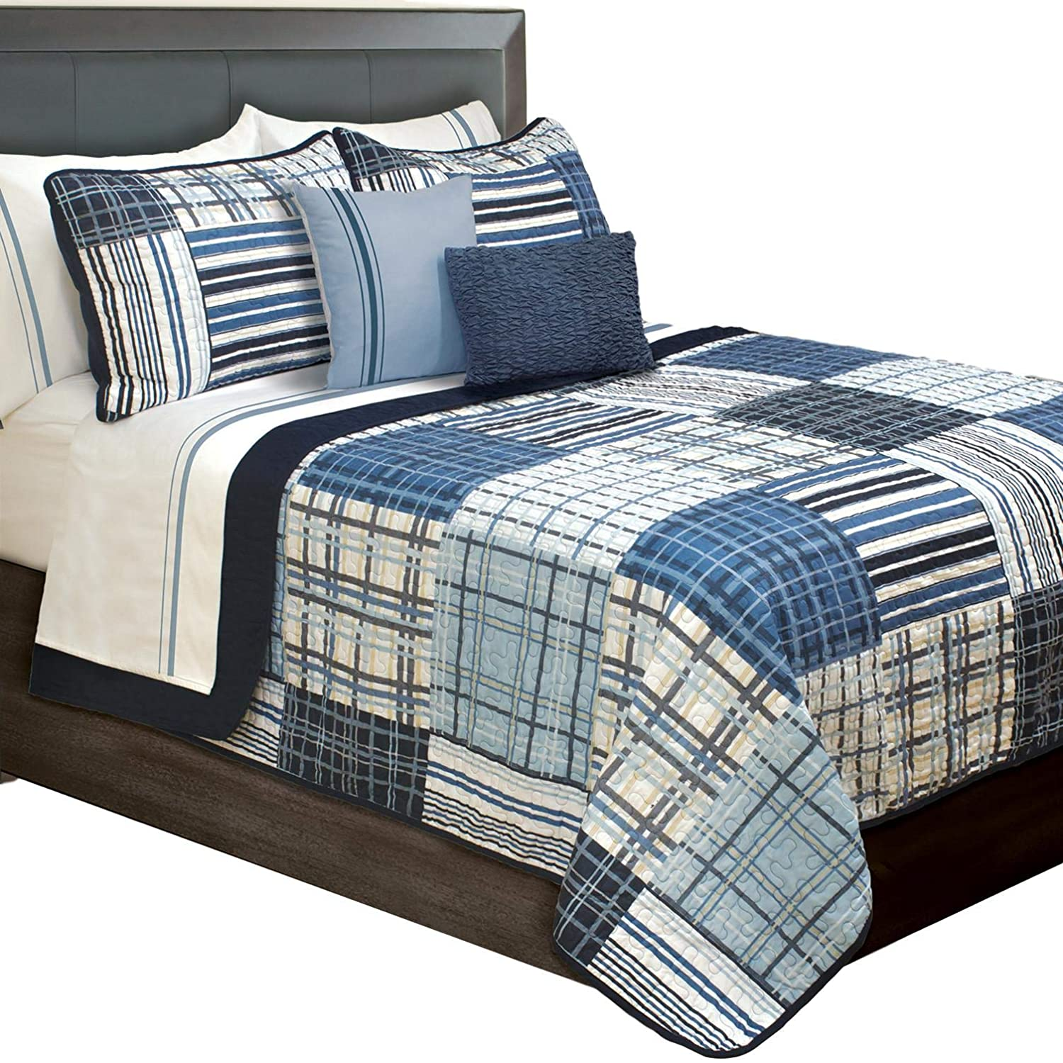 Duncan Plaid Printed Bedding 3 Piece / Bedspread Coverlet Quilt Set (Blue, King) 060971