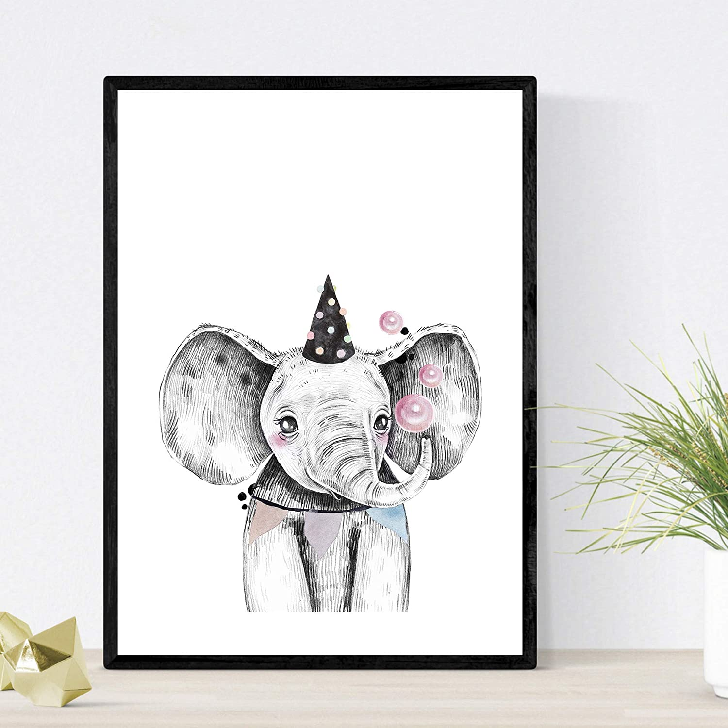 Nacnic Prints Party Animals - Set of 1 - Unframed 8x11 inch Size - 250g Paper - Beautiful Poster Painting for Home Office Living Room