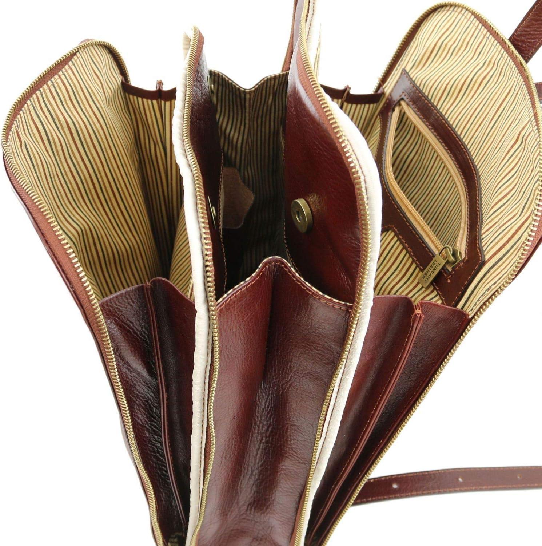 Tuscany Leather - Taipei - Zaino in pelle con tre scomparti - TL141239 (Nero) Testa Di Moro