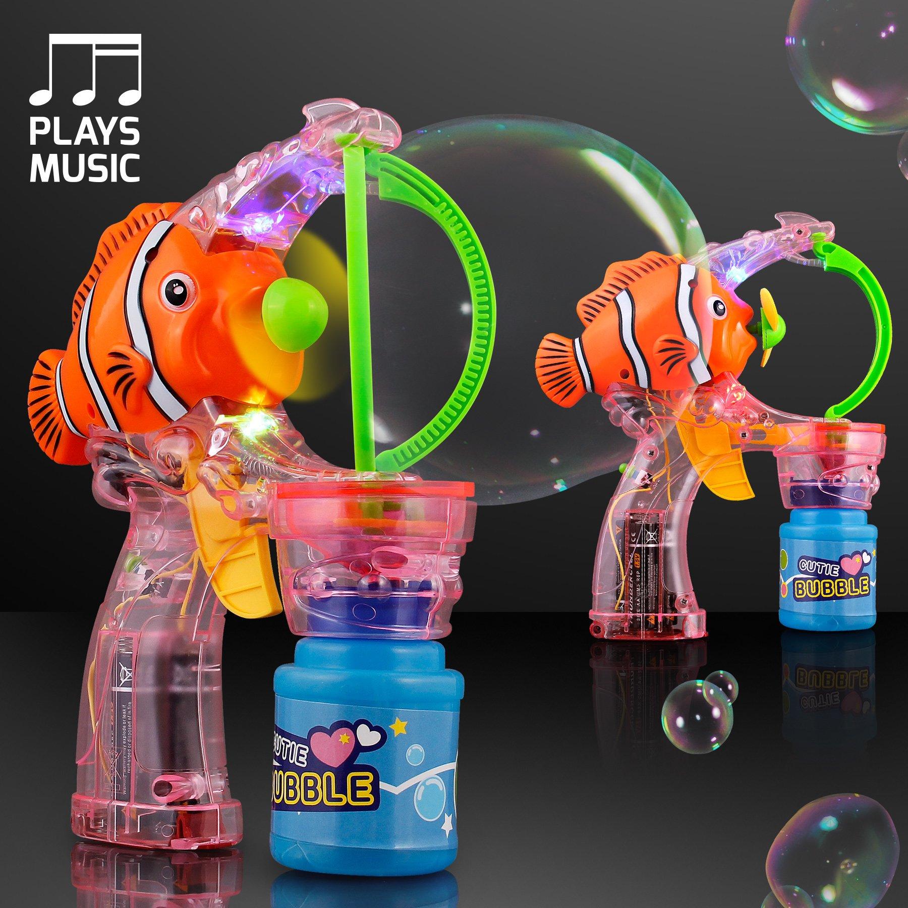 Clown Fish Light Up Bubble Gun with Cute Music (Set of 18)