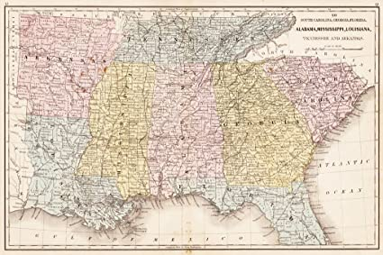 Amazon.com: Southern United States 1867 Antique Style Map Poster ...