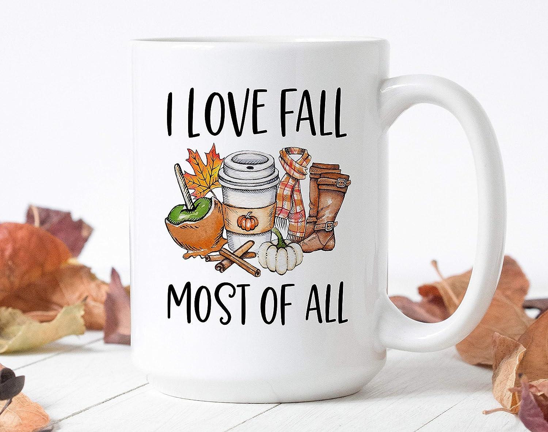 Coffee Mug I Love Fall Most Of All Happy Fall Mug Autumn Mug Fall Mug Autumn Vibes Pumpkin Spice Mug Sweater Weather Amazon Co Uk Kitchen Home