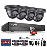 SANNCE 4CH 1080P HD Realtime CCTV DVR Video Surveillance Recorder 1TB HDD w/ 4x 1920*1080P 2.0MP Weatherproof Dome Camera, Home Security System HD Over Analog/BNC, Smart Email Alert, Peer to Peer Technology
