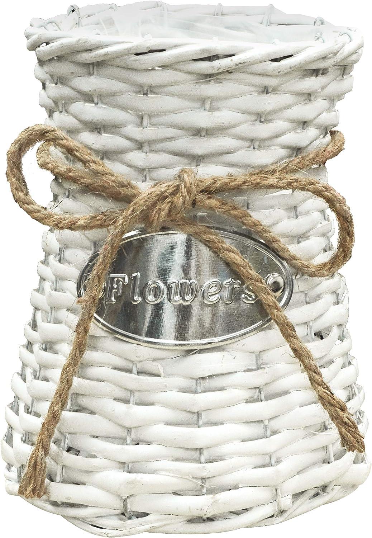"Soyizom Hand-Woven Flower Vase Basket with Rope Design Freach Vintage Seagrass Vase Wood Grass Floor Vase Rustic Country Wicker Vase Rattan Flower Vase Planter Pot Can Decortive Holder,8"" H/White"