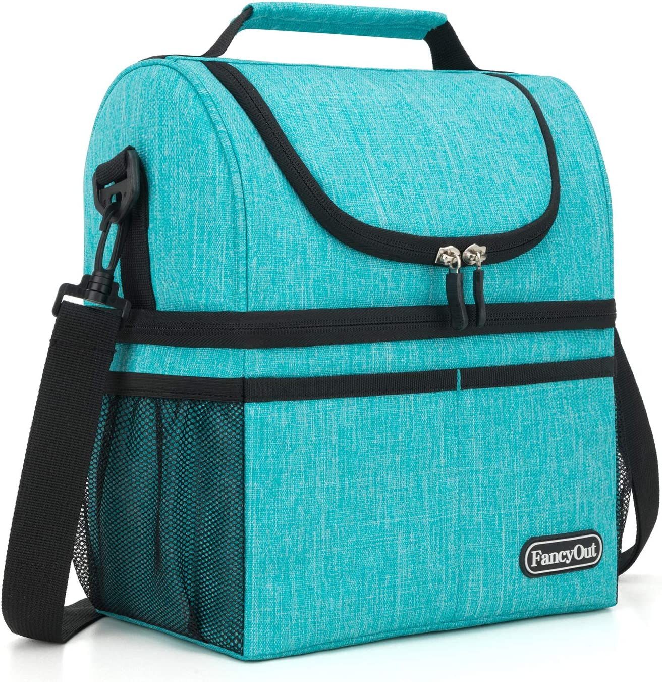 Insulated Lunch Bag with Dual Compartment, Leak Proof Liner Cooler Bag with Adjustable Shoulder Strap, Water-Resistant Lunch Box for Office/Picnic/Hiking/Beach (Style A-Indigo)