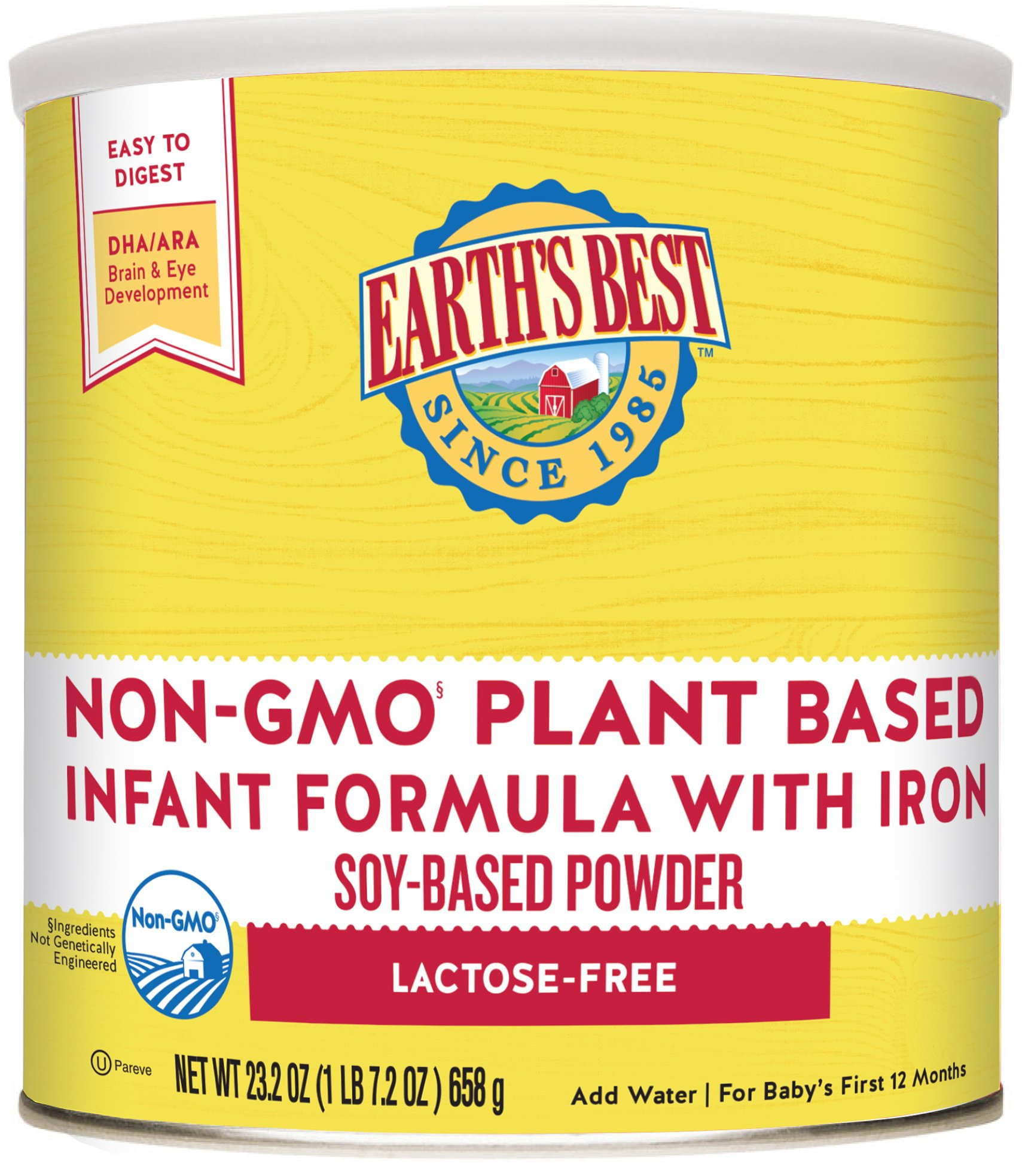 Earth's Best Non-GMO Soy Plant Based Infant Powder Formula with Iron, Omega-3 DHA & 6 ARA, 23.2 oz. (Pack of 4) (packaging may vary) by Earth's Best