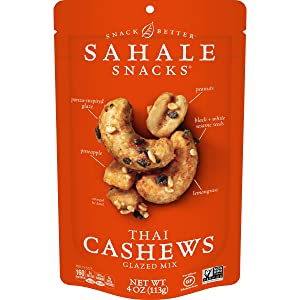 Sahale Snacks Thai Cashews Glazed Nut Mix, 4 oz. – Healthy Snacks in a Resealable Pouch, No Artificial Flavors, Preservatives or Colors, Gluten-Free Snacks