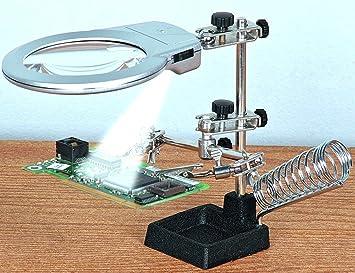 tercera mano con luz (blanco) con retroiluminación LED para su soldar y modelización con hierro fundido base y lápiz (lápiz capacitivo) soldadura ...