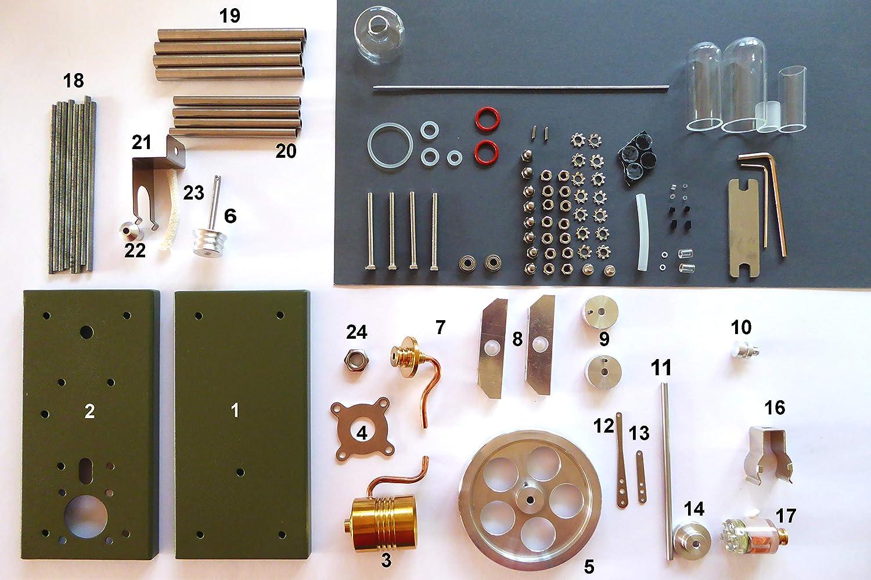 BAUSATZ Stirlingmotor Heissluftmotor MINT Modell m. LED Antriebsmodell