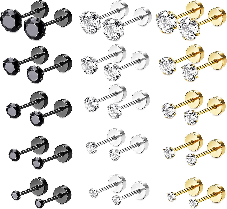 Besteel 15 Pairs Stainless Steel CZ Stud Earrings Screw Flat Back Barbell Cartilage Piercing Earrings for Women Men