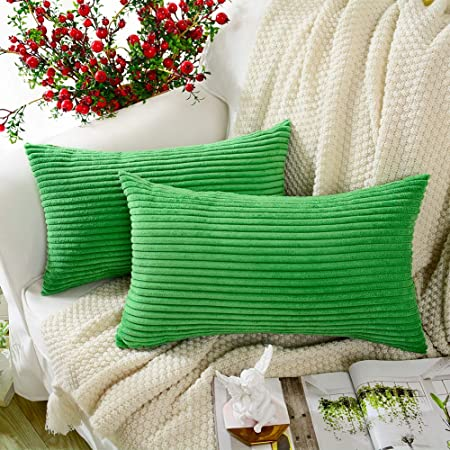 MERNETTE New Year//Christmas Decorations Corduroy Soft Decorative Square Throw Pillow Cover Cushion Covers Pillowcase Home Decor for Party//Xmas 18x18 Inch//45x45 cm Bean Green Set of 2
