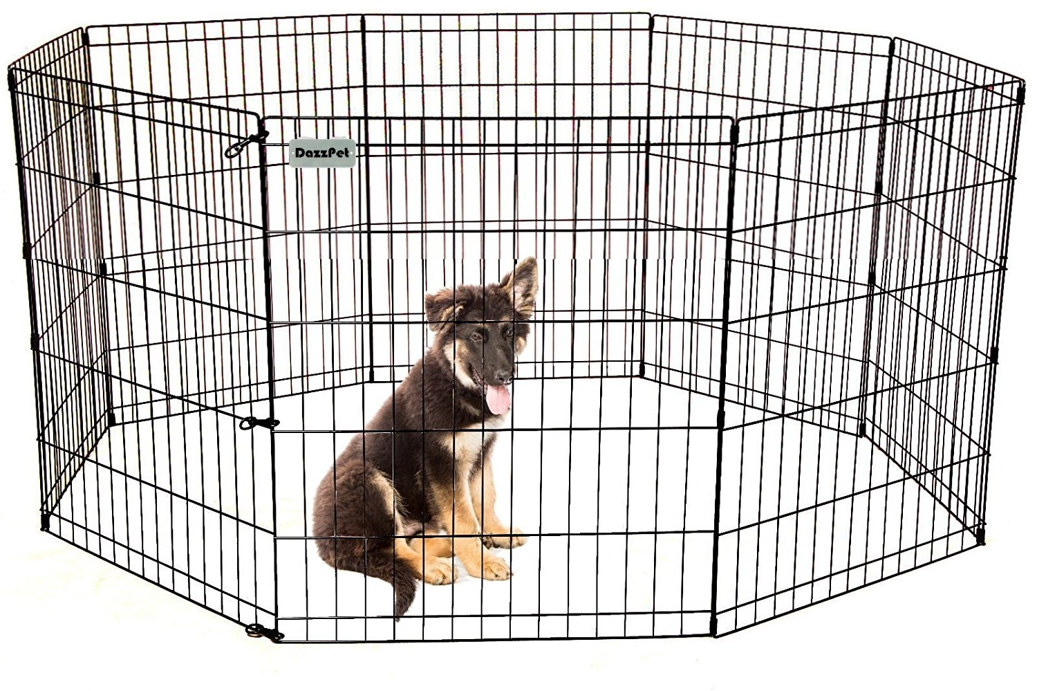 DazzPet Dog Pen Puppy Playpen | 30'' Height Indoor Outdoor Exercise Outside Play Yard | Pet Small Animal Puppies Portable Foldable Fence Enclosures | 8 Panel Metal Wire, Black