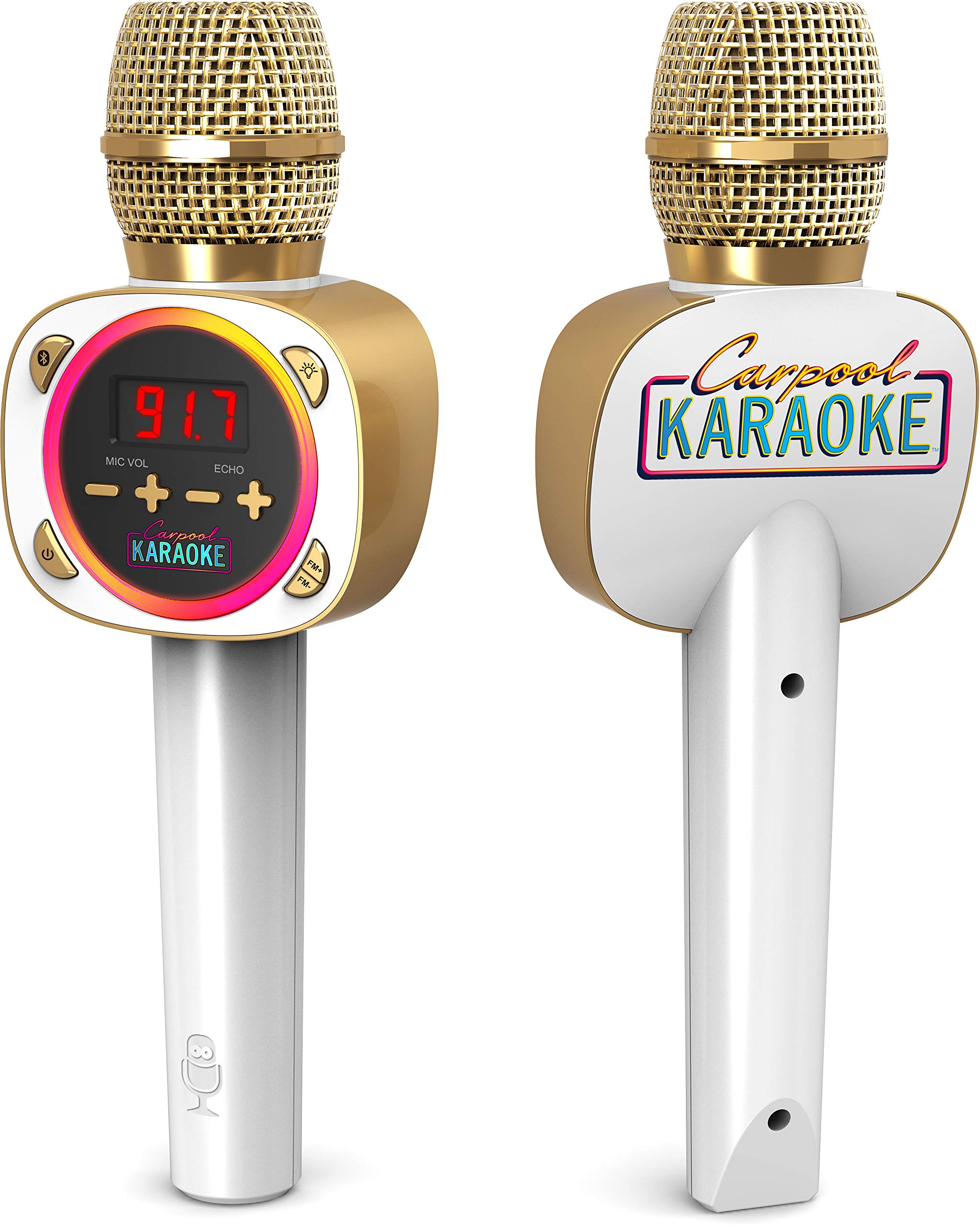 Singing Machine Official Carpool Karaoke, The Mic, Bluetooth Microphone for Cars, White (CPK545) by Singing Machine