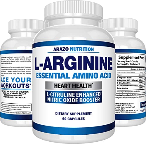 Premium L Arginine – 1340mg Nitric Oxide Booster with L-Citrulline Essential Amino Acids for Heart and Muscle Gain – NO Boost Supplement for Endurance and Energy – 60 Capsules
