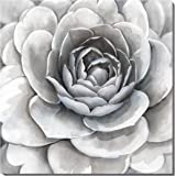3Hdeko Large Flower On Canvas Artwork Simple Elegant Gray With Slightly Purple And Pink For Living