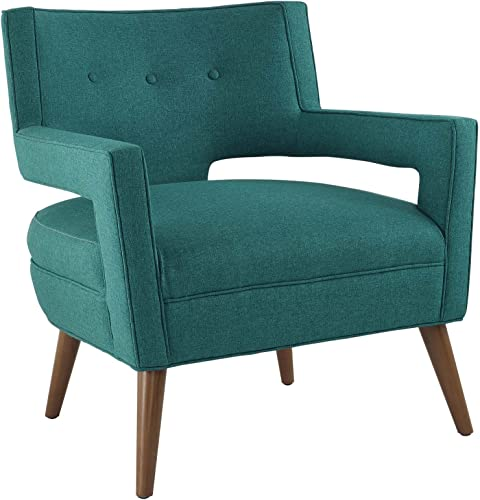 Modway Sheer Upholstered Fabric Mid-Century Modern Accent Lounge Arm Chair in Teal