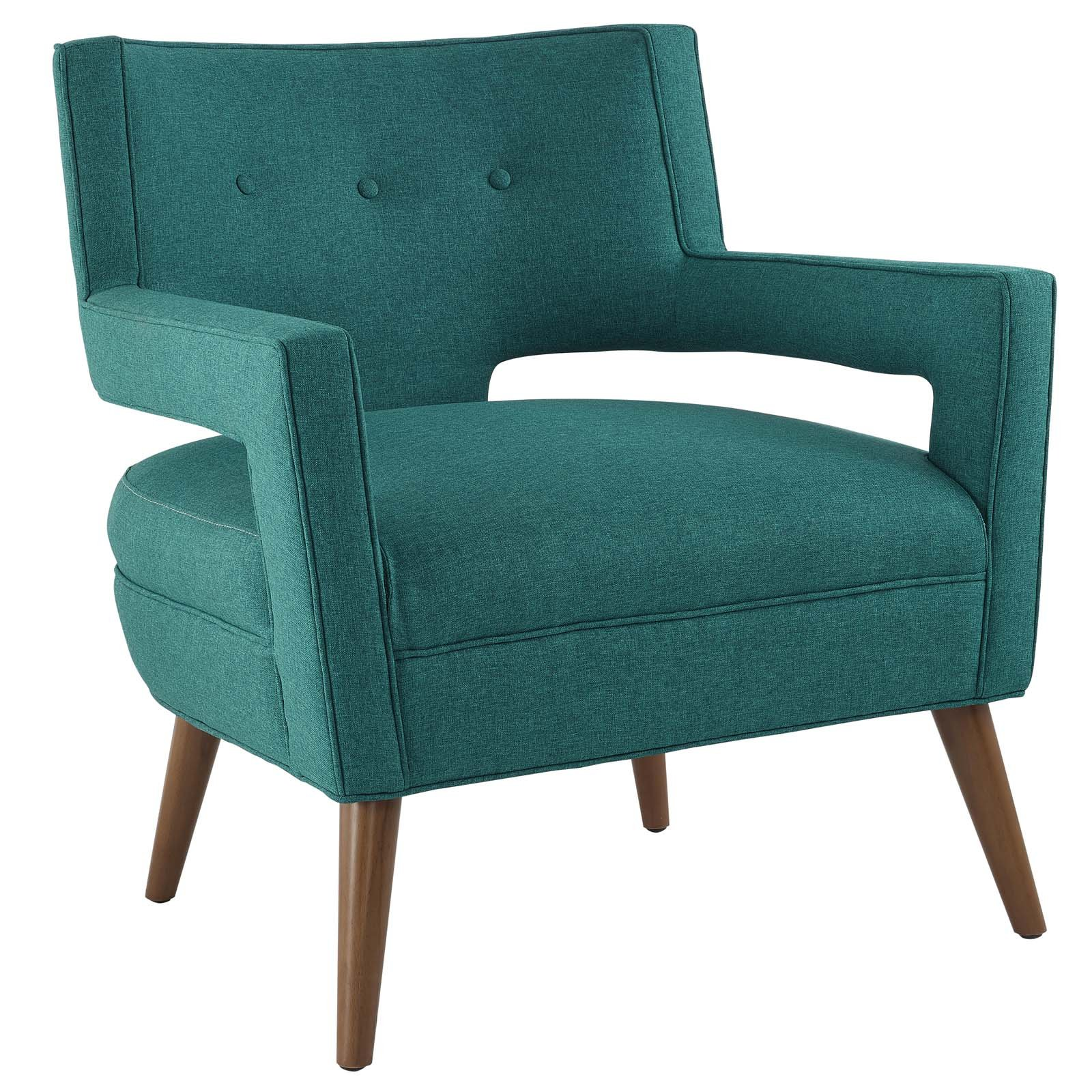 Modway Sheer Upholstered Fabric Mid-Century Modern Accent Lounge Arm Chair in Teal by Modway