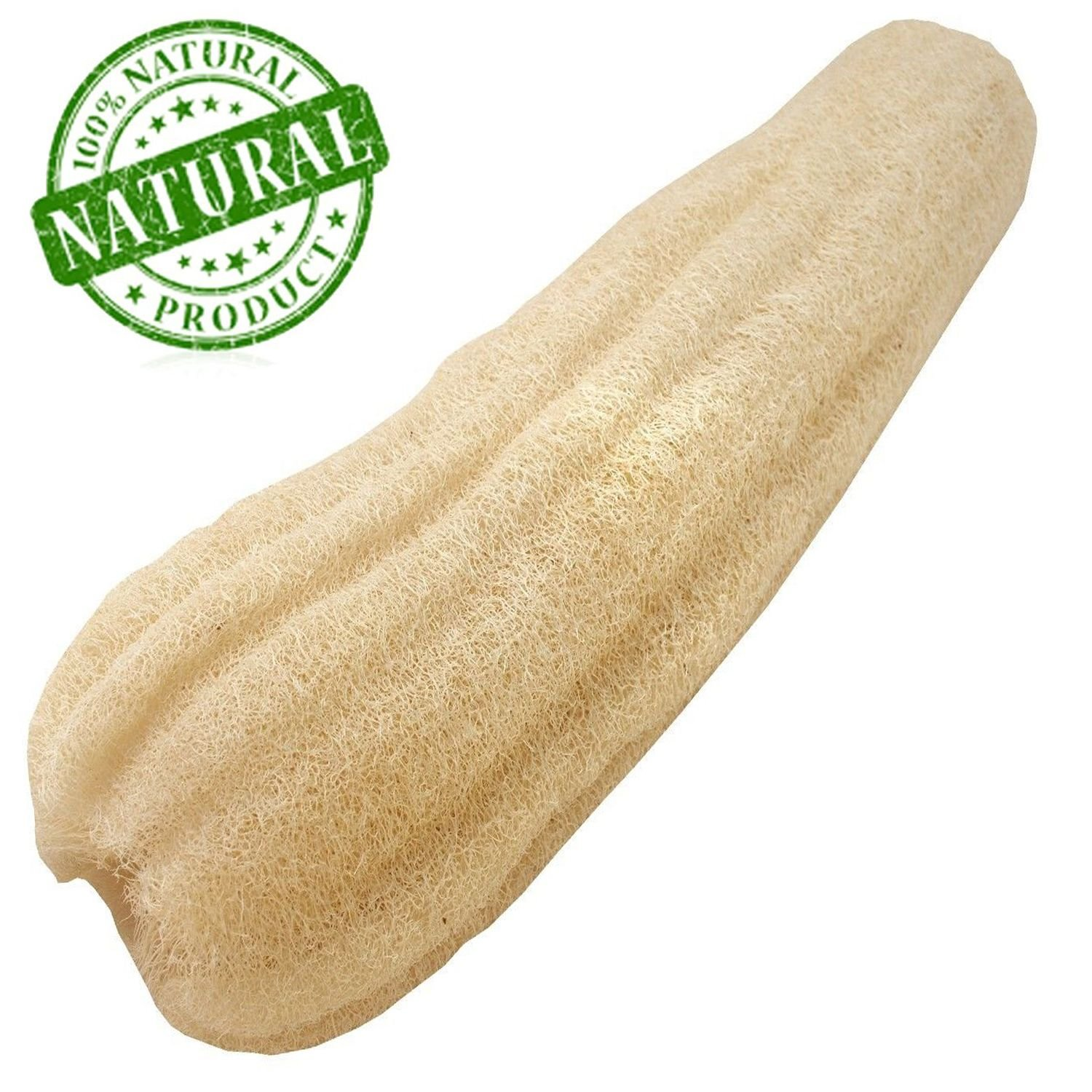 One Whole Large Natural Loofah 23.6 x 2.4 Inch, ZUEXT Organic Loofa Bath Sponge, SPA Beauty Luffa Scrubber Sponge, LOOFAH LOFA LOOFA Exfoliation Face Back Body Foot Scrubber