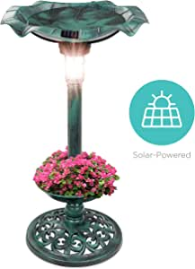 Best Choice Products Outdoor Solar Lighted Pedestal Bird Bath Fountain Decoration w/Planter, Integrated Panel, Scroll Accents for Lawn, Garden - Green
