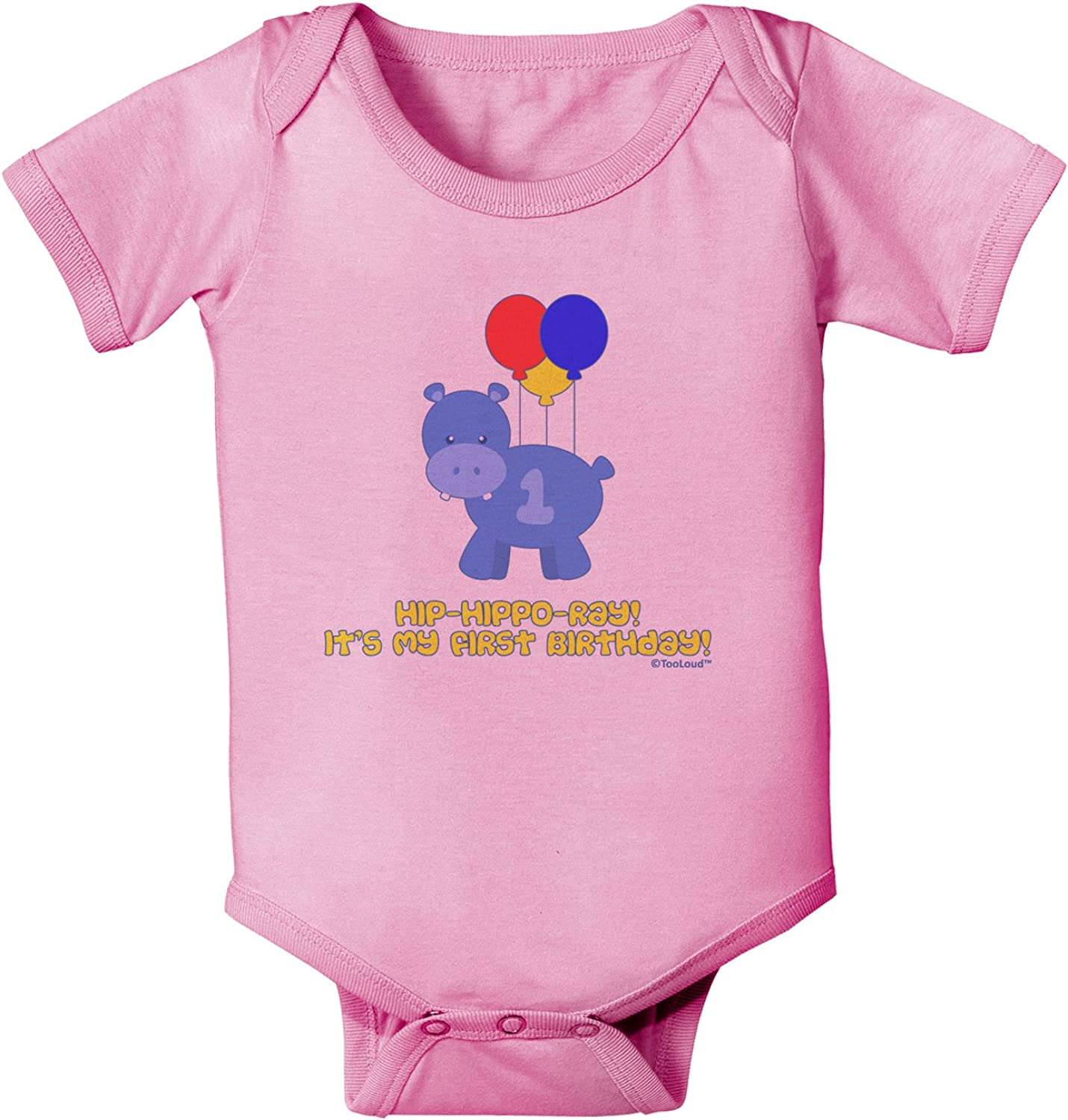 TooLoud Cute First Birthday Hippo Pink and Purple Toddler T-Shirt
