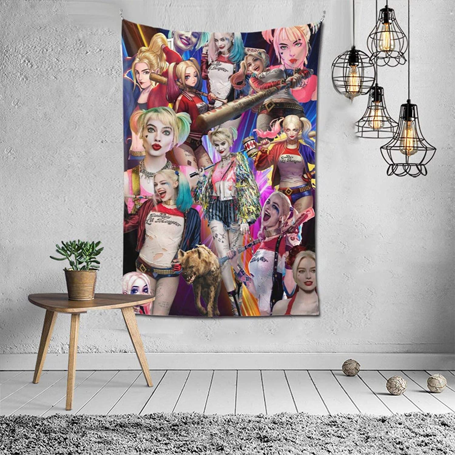 ANGOGO Harley-Quinn Wall Art Tapestry Hanging for Bedroom Living Room Backdrop Party Dormitory Bed Decoration 60x40 Inch